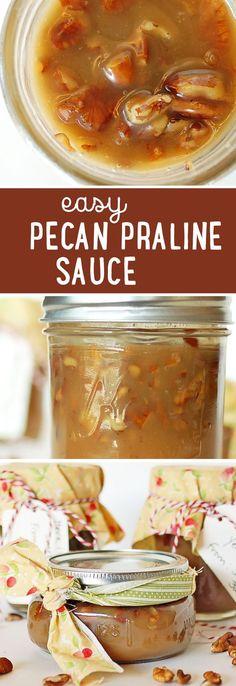 Easy Pecan Praline Sauce (teacher gift) Pecan Pie Ice Cream Recipe, Praline Syrup Recipe, Pecan Glaze Recipe, Pecan Praline Cake, Carmel Pecan Cheesecake, Butter Pecan Cheesecake Recipe, Praline Candy, Pecan Candy, Praline Pecans