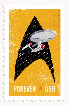 Design firm The Heads of State and USPS have created these commemorative Star Trek stamps featuring wonderfully retro illustrations.