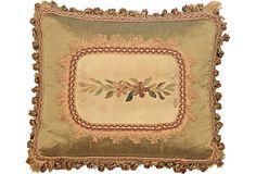 1890s French Silk down stuffed Tapestry  Pillow