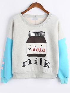 Sudadera cuello redondo Milk Bottle -gris azul-Spanish SheIn(Sheinside)