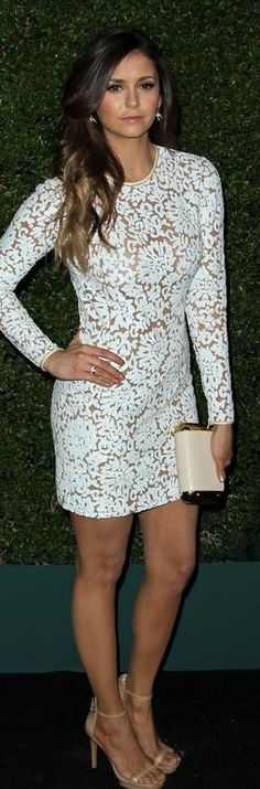 Who made Nina Dobrev's white long sleeve dress that she wore in Beverly Hills on October 2, 2014