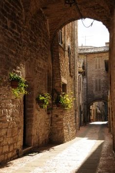 Assissi Italy - where we saw a young man singing as he walked down the street.  Very spiritual place.