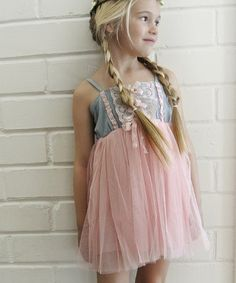 Love this Pink & Denim Lace & Tulle Dress - Toddler & Girls on #zulily! #zulilyfinds