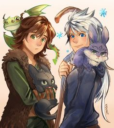 Jack and Hiccup with their animal friends <<< I find the fact that Jack ends up with a little version of Bunny is hilarious