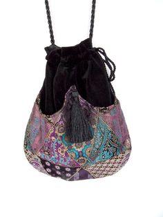 Purple Iridescent Shoulder Drawstring Bag Black Velvet Bag Evening Purse Bohemian Bag Boho Bag. $40.00, via Etsy.