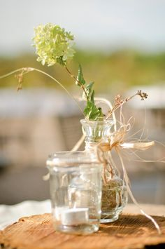 Centerpiece At A Rustic Wedding