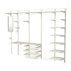 IKEA - ALGOT, Wall upright, shelf and triple hook, You click the brackets into the ALGOT wall uprights wherever you want to have a shelf or accessory – no tools needed.Can also be used in bathrooms and other damp indoor areas. Bedroom Upgrade, A Shelf, Ikea Bedroom, Furniture, Shelves, Ikea, Home Furnishings, Ikea Family, Ikea Algot