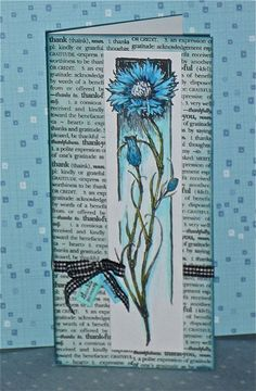 """handmade card: Thank You by swanlady21 * Janet ...  tall and narrow format (#10 envelope) ... Hero Arts background stamp for """"Thank You"""" definition ... tall and slender bachelor's button flower on a column panel"""