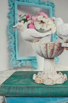 Shabby chic bird dish cottage chic jewelry holder by leighdarling