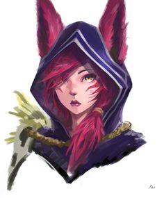 Xayah by on DeviantArt League Of Legends Characters, Lol League Of Legends, Xayah Lol, Game Character, Character Design, Rakan League Of Legends, Lol Champ, Anime Wolf, Mobile Legends