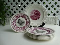 Copeland Spode Two Color Transferware in Black and Plum Bread and Butter Plate. Made in England. by HomecomingDiningRoom on Etsy