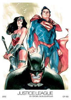 "xombiedirge: "" Justice League & Batman Comic Con Prints by Rafael Albuquerque / Website "" So awesome…. Wonder Woman Y Superman, Batman And Superman, Batman Arkham, Dc Comics Superheroes, Marvel Dc Comics, Comic Book Artists, Comic Books Art, Comic Art, Rafael Albuquerque"