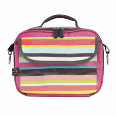 This soft-sided Lunch Buddy from Fleurville ($28) is easy to use and has great features including an exterior pocket, an interior name tag, and a removable shoulder strap. It comes in sophisticated, striped patterns that are likely to appeal to older kids.