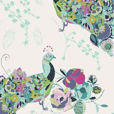 Art Gallery - Petal & Plume - Bari J - Peacock Waltz in Festal by Bobbie Lou's Fabric Factory Fabric Birds, Fabric Art, Fabric Design, Quilting Fabric, Pattern Design, Cotton Fabric, Baby Crib Bedding, Pink Bedding, Art Gallery Fabrics