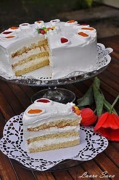 Romanian Desserts, Vanilla Cake, Sweet Treats, Food And Drink, Ice Cream, Sweets, Recipes, Festive, Cakes