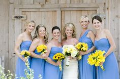 I like the idea of all different types of flowers in yellow for Allison's wedding. With baby breath !