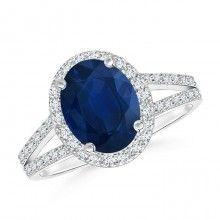 Diamond Halo Blue #Sapphire Split Shank Engagement Ring #Angara