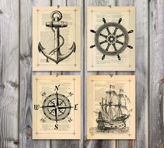 Nautical art Poster Print set Antique drawing by eebookprints, $29.99