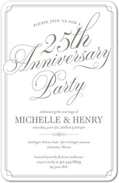 Th Wedding Anniversary Invite Wording  Anniversary Party
