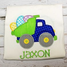 Our adorable boys Easter egg truck shirt is the cutest shirt for an Easter egg hunt. This Shirt has a Easter truck with eggs. Name is embroidered under design. This shirt is an appliqué and embroidere