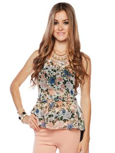 Papaya Clothing Online :: FLORAL PEPLUM CHIFFON TOP