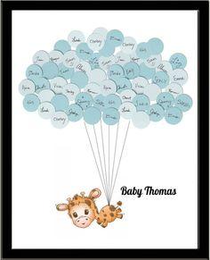 Giraffe Theme GuestbBook Baby Shower Print for Boy