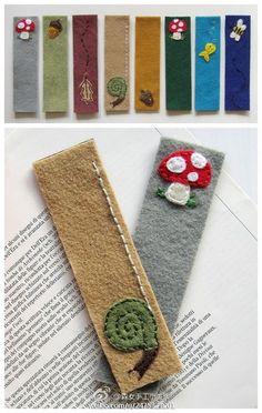 felt bookmarks by lela Felt Diy, Felt Crafts, Fabric Crafts, Sewing Crafts, Sewing Projects, Craft Projects, Diy Bookmarks, How To Make Bookmarks, Felt Bookmark