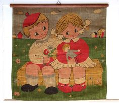 SALE Children with Flowers and Doll Vintage by TinMonkeyOnABike, $28.00