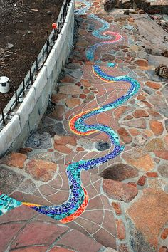 Adding a magical river of colorful mosaics will make your backyard … - Easy Diy Garden Projects Diy Garden, Dream Garden, Garden Paths, Garden Projects, Garden Art, Diy Projects, Walkway Garden, Garden Mosaics, Mosaic Projects