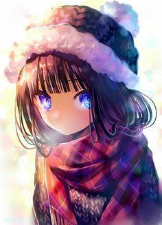 Anime girl . Winter . Cold ...