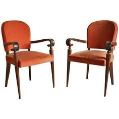 Pair of French Art Deco Bridge Armchairs by Maxime Old 1
