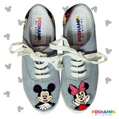 66bc32ce17dd Hand-painted Mickey   Minnie themed shoes. Mail us at poshampa.team