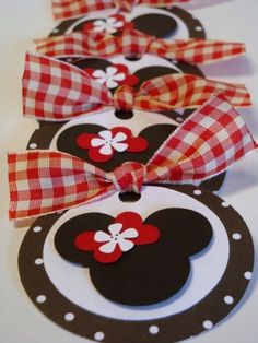 Items similar to Miss Mouse Handmade Black and Red Plaid Polka dot party favor gift tags by Chocolatetulipdesign on Etsy. , via Etsy.