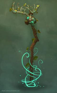 Illustration of a druid staff I've designed with the Witchwood Hearthstone expansion and the Kul Tiran druids from Warcraft as inspiration. Fantasy Weapons, Fantasy Warrior, Fantasy Art, Staff Magic, Dnd Druid, Wizard Staff, Cosplay Weapons, D&d Dungeons And Dragons, Prop Design