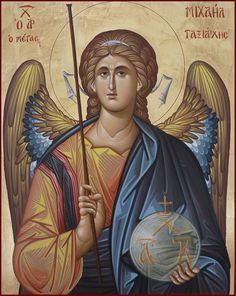 天使 Religious Images, Religious Icons, Religious Art, Byzantine Icons, Byzantine Art, Religious Paintings, Jesus Art, Saint Michel, Archangel Michael
