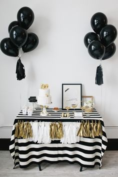black, white, and gold dessert table /// #stripes #black #white #gold #fringe #balloons