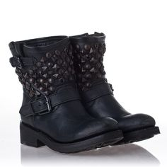 A little rocker chic with these Womens Titanic Leather and Black Studs Black Boots from Ash Shoes