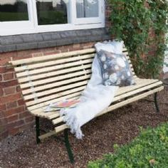 The Contemporary Slatted Bench from Grange is a stylish option designed with comfort in mind. Wooden Garden Furniture, Outdoor Furniture, Outdoor Decor, Fencing Supplies, Garden Buildings, Contemporary Garden, Play Houses, Shed, Bench