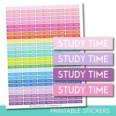 Study time stickers, Study time planner stickers, Study time weekly and monthly planner stickers, STI-717