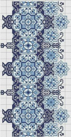 Beading _ Pattern - Motif / Earrings / Band ___ Square Sttich or Bead Loomwork ___ Схема вишиванки wow, what you can do with just a few color shades! Cross Stitch Borders, Cross Stitch Samplers, Cross Stitch Flowers, Cross Stitch Charts, Cross Stitch Designs, Cross Stitching, Cross Stitch Patterns, Folk Embroidery, Cross Stitch Embroidery