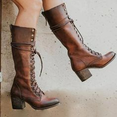 Item ID: Shoes Style:Lace-Up Heel Height:Med Boot Height:Mid-Calf Heel Type:Block Heel Occasion:Daily Toe Type:Round Toe Process:Zipper Gender:Women Style:Vintage,Casual Theme:. Lila Heels, Lace Up Heels, Heeled Boots, Bootie Boots, Shoe Boots, Women's Boots, Tall Riding Boots, High Boots, Tall Boots