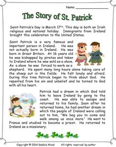 The Story of St. Patrick: Reading/ 3 Vocabulary Worksheets/ Sequence Strip Story/ Making Information Questions/ Scrambled Words: St Patricks Day Crafts For Kids, St Patrick's Day Crafts, St Patrick's Day Story, Reading Comprehension Activities, Comprehension Worksheets, Vocabulary Worksheets, Sant Patrick, Who Is St Patrick, Teaching