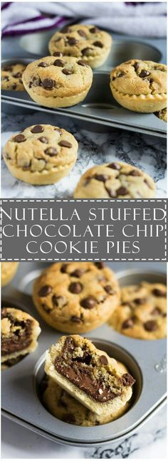 Eat Stop Eat To Loss Weight - Nutella Stuffed Chocolate Chip Cookie Pies.how can I think about eating healthy now I know these exist? - In Just One Day This Simple Strategy Frees You From Complicated Diet Rules - And Eliminates Rebound Weight Gain Baking Recipes, Cookie Recipes, Dessert Recipes, Baking Desserts, Vegan Recipes, Delicious Desserts, Yummy Food, Tasty, Chocolate Chip Cookie Pie