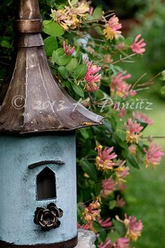 "Birdhouse & honeysuckle This looks a lot like my eraser birdhouses in miniature!  ""A Rainy Day Muse"""