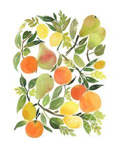 Citrus Composition Watercolor Art Print by YaoChengDesign on Etsy Watercolor Fruit, Watercolor Flowers, Watercolor Paintings, Original Paintings, Watercolor Design, Watercolours, Painting Inspiration, Art Inspo, Art Aquarelle