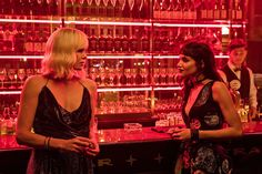 Theron and costar Sofia Boutella in Atomic Blonde