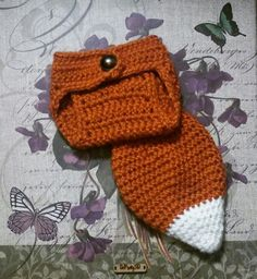 Crocheted newborn fox tail diaper cover