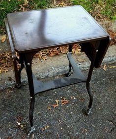 Vintage 1950's Brown Metal Office Rolling Drop Leaf Typewriter Desk Stand Table | eBay