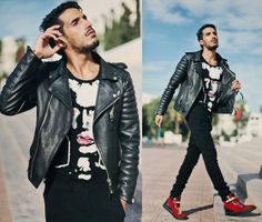 Mohcine Aoki in our Quilted Biker (Oil Black) #leather #luxury #morocco #international #bodaskins #fashion