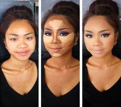 Chica de piel morena mostrando como es el antes y después del maquillaje